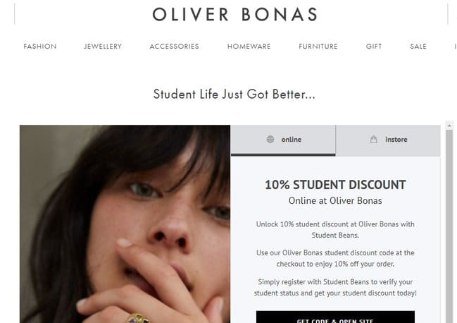 oliver bonas student discount page