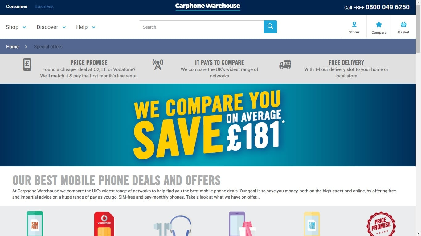 carphone warehouse student discount deals