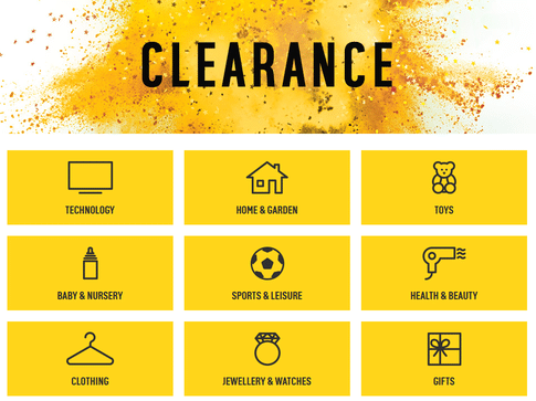 argos clearance page