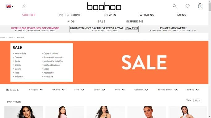 boohoo sales page