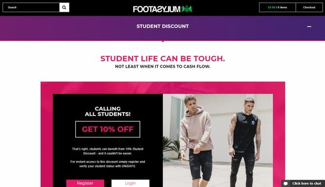 footasylum student discount page