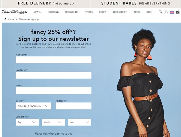 miss selfridge newsletter 25 percent off