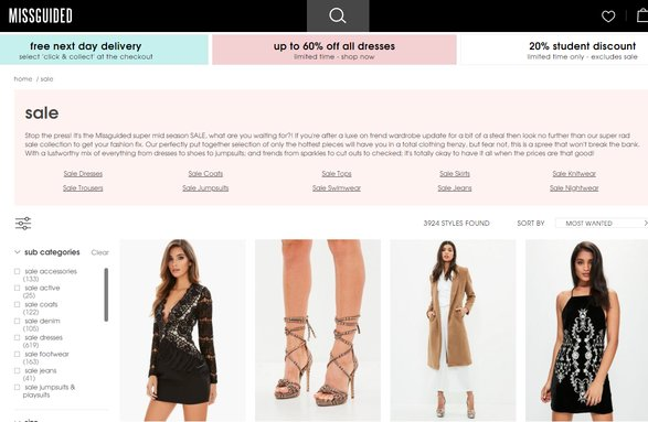 missguided sales page