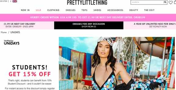 prettylittlething student discount