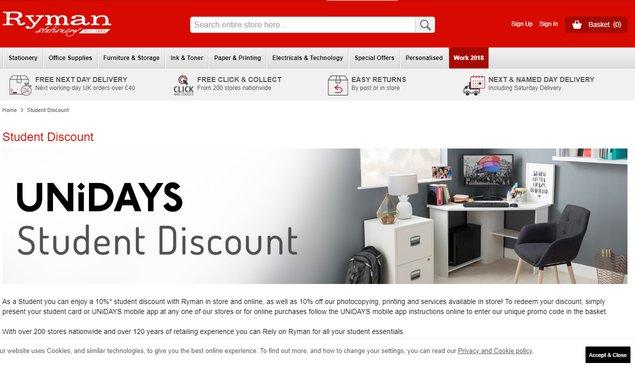 ryman student discount