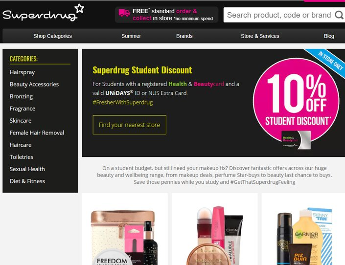 Superdrug Student Discount 10 Discount 50 Sale May 2020