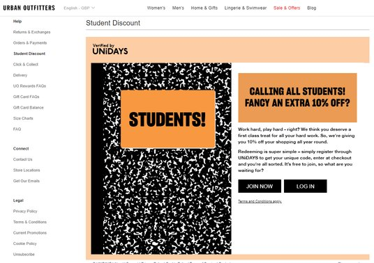urban outfitters student discount page
