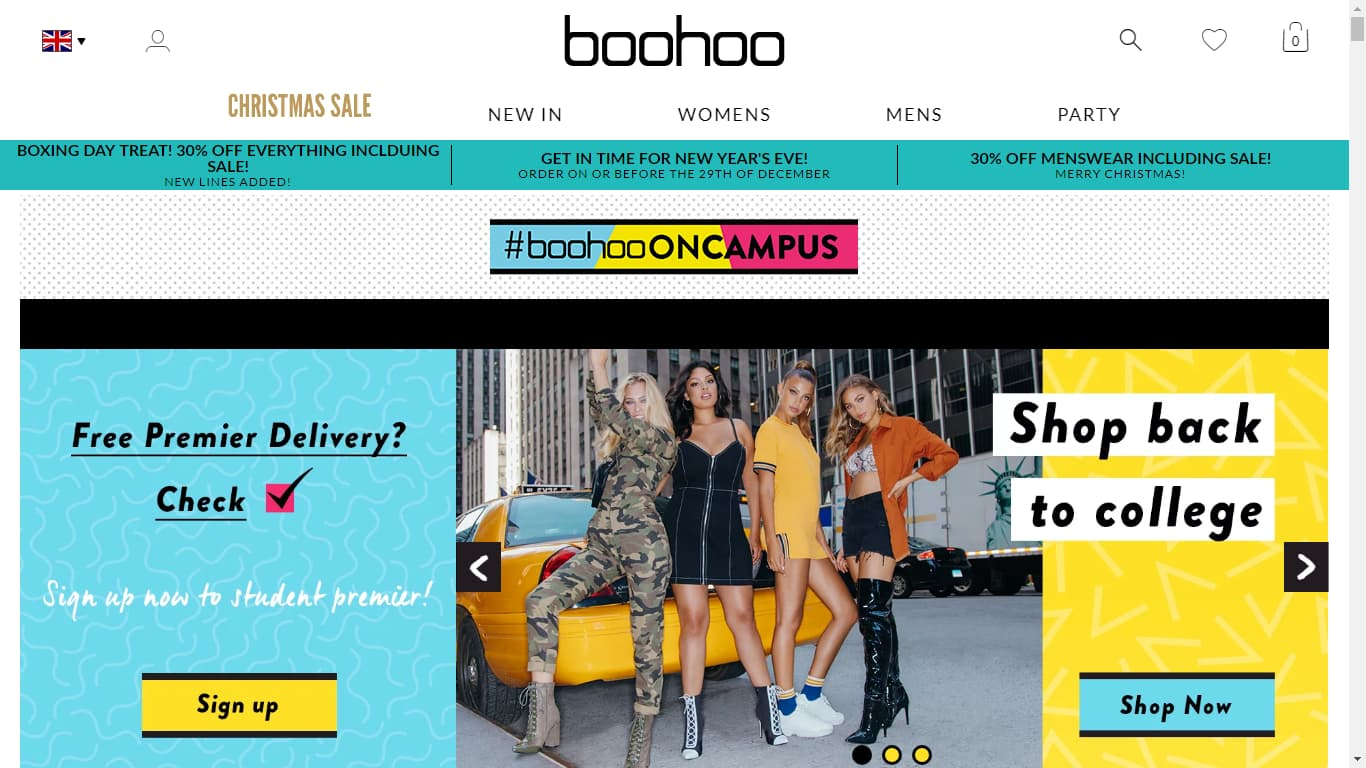 Boohoo student discount page