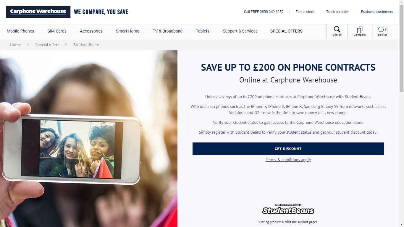 carphone warehouse unidays page
