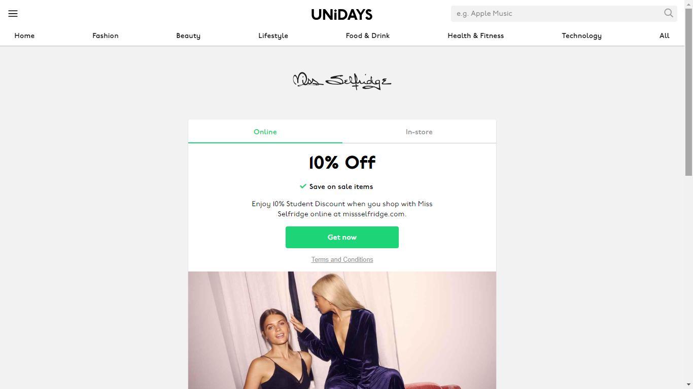 miss selfridge unidays discount