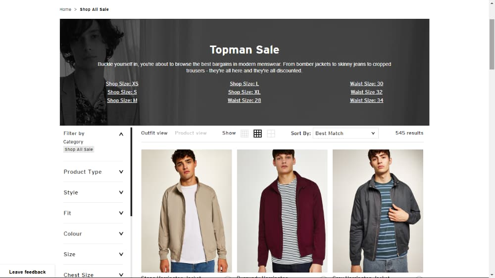 topman sales offers page
