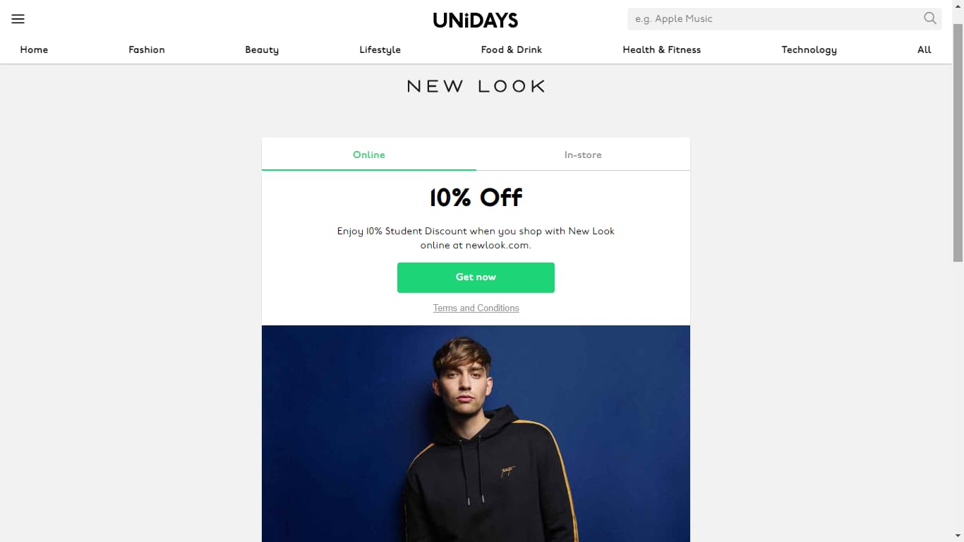 unidays new look discount