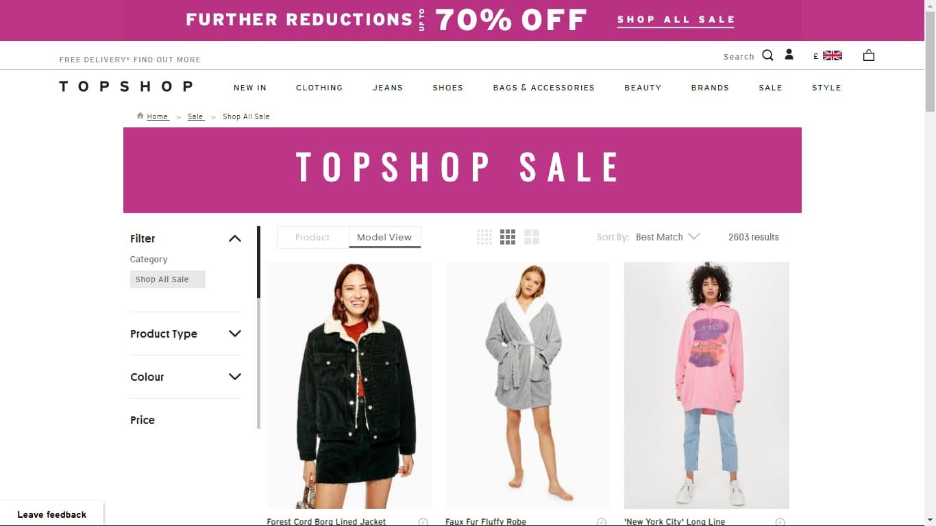 topshop sales page