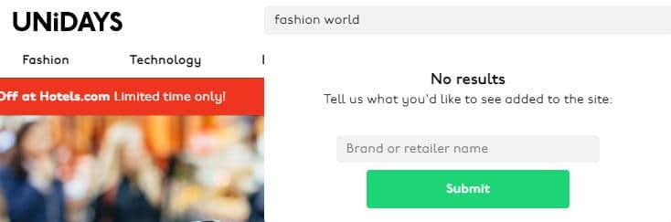 unidays fashion world