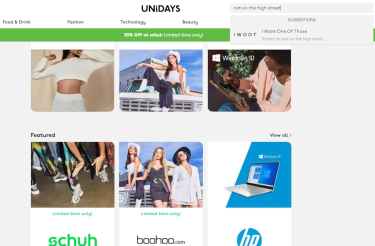 unidays not on the high street