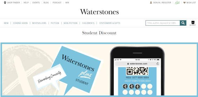 waterstones student discount