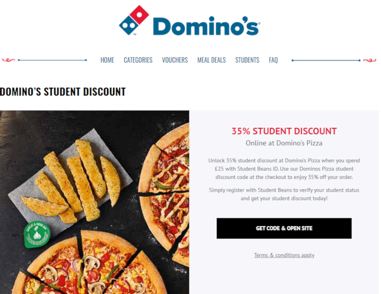 dominos pizza student discount