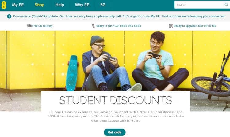ee student discount