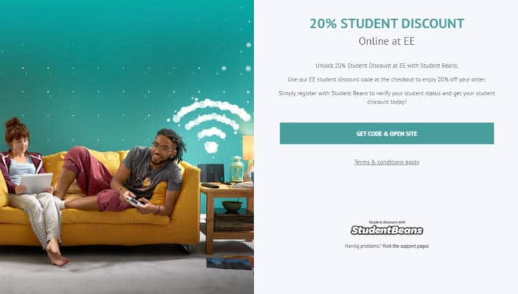 student beans ee discount