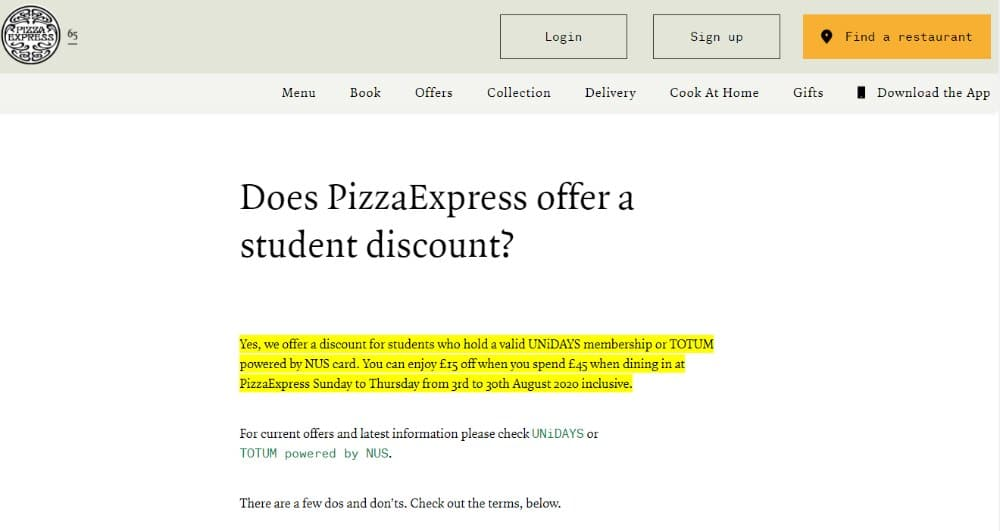 pizza express student discount