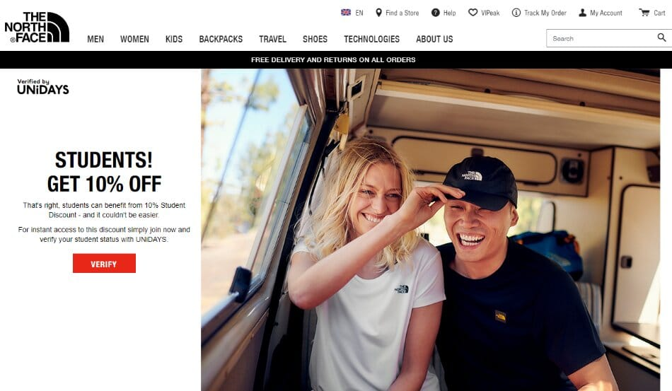 north face student discount