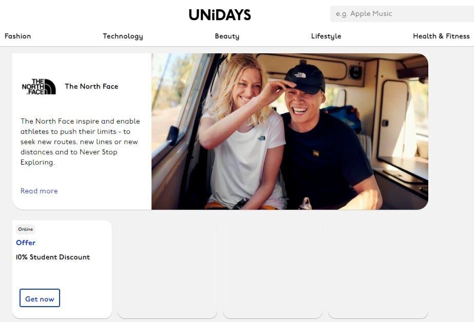 unidays north face