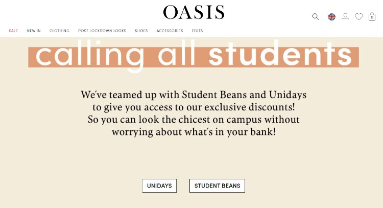 oasis student discount